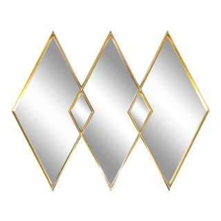 LaBarge Gilded Diamond Trio Wall Mirror For Sale