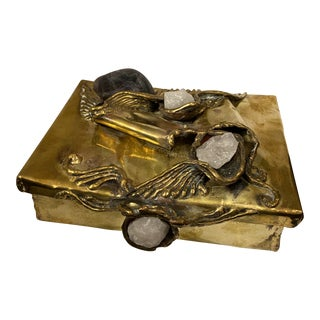 Brass Brutalist Stone Box Sing. For Sale