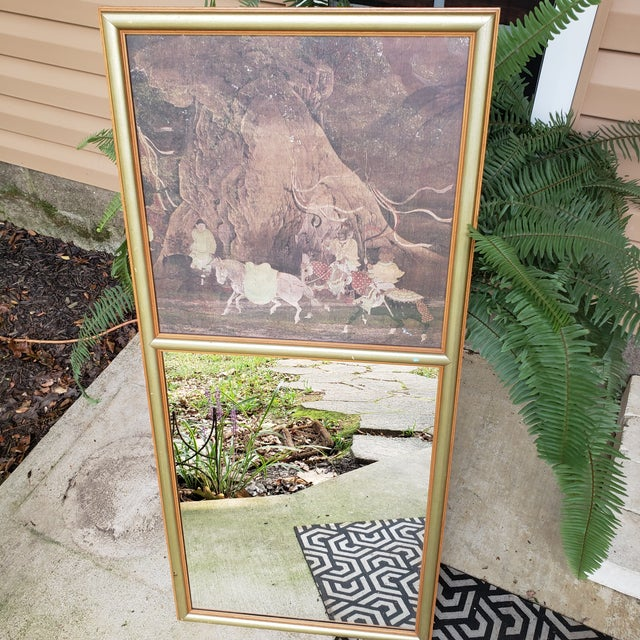 Vintage Asian Chinoiserie Trumeau Wall Mirror With Top Framed Print Motif Hall Gold For Sale - Image 6 of 10