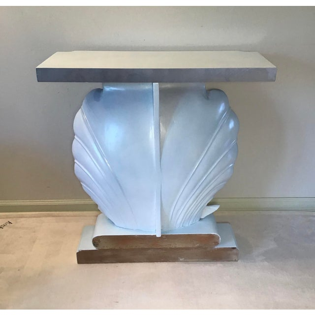 Palm Beach Regency 1950s Edward Wormley Dunbar Style Carved Wood Shell Console Table White Blue Pearl For Sale In Greenville, SC - Image 6 of 13