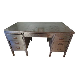 1930s Industrial Art Deco Metal Partner Desk For Sale