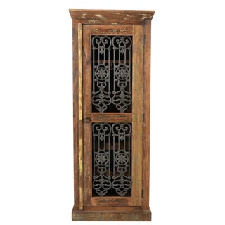 Kosas Wooden Bar Cabinet, Iron Grill Door, Bar Chest, Large Wooden Wine Cabinet, Rustic Look- Wax Finish For Sale