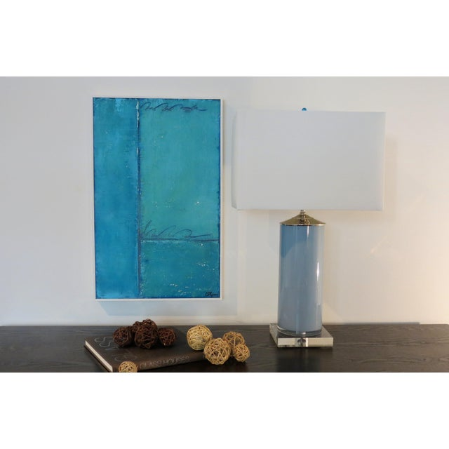 Abstract Aqua and Sky Abstract, 3. Mixed Media on Framed Panel by C. Damien Fox For Sale - Image 3 of 4