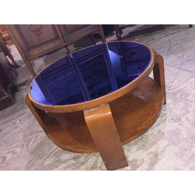 Mid-Century Modern Blue Glass Coffee Table For Sale - Image 4 of 6
