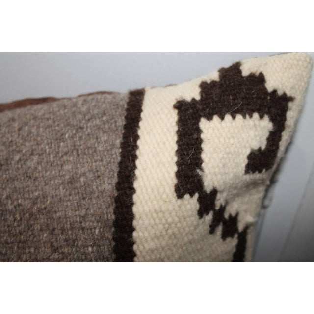 1930s Mexican Indian Weaving Geometric Bolster Pillow For Sale - Image 5 of 8