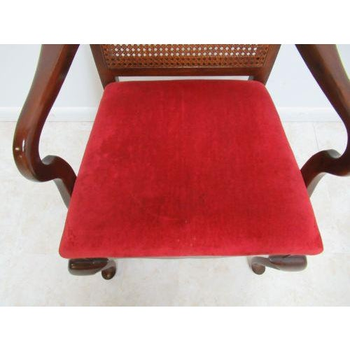 Thomasville Vintage Thomasville Solid Cherry Queen Anne Caned Chair For Sale - Image 4 of 11