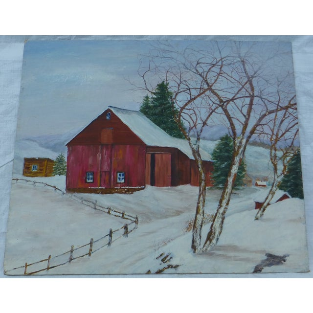 Beautiful old red barn on a snowy day depicted in this oil on artist board. This piece is unsigned. Both Harold and...