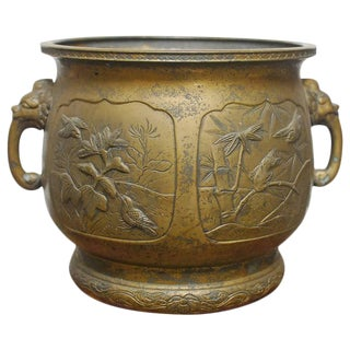 Japanese Bronze Meiji Period Urn Planter For Sale