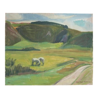 Abstract Danish Country Landscape Painting For Sale