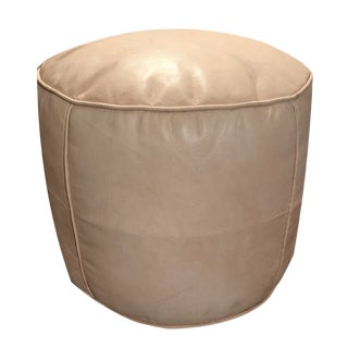 Tabouret Pouf by Mpw Plaza, Tan (Cover) Moroccan Leather Pouf Ottoman For Sale
