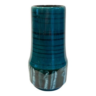 Vintage West German Blue Glazed Vase For Sale