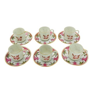 Armorial Style Demitasse Cups and Saucers - Set of 6 For Sale