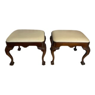 English Mahogany Ball and Claw Footstools - a Pair For Sale