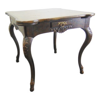 Baker Country French Collectors Edition Oak Leather Top Games Table For Sale