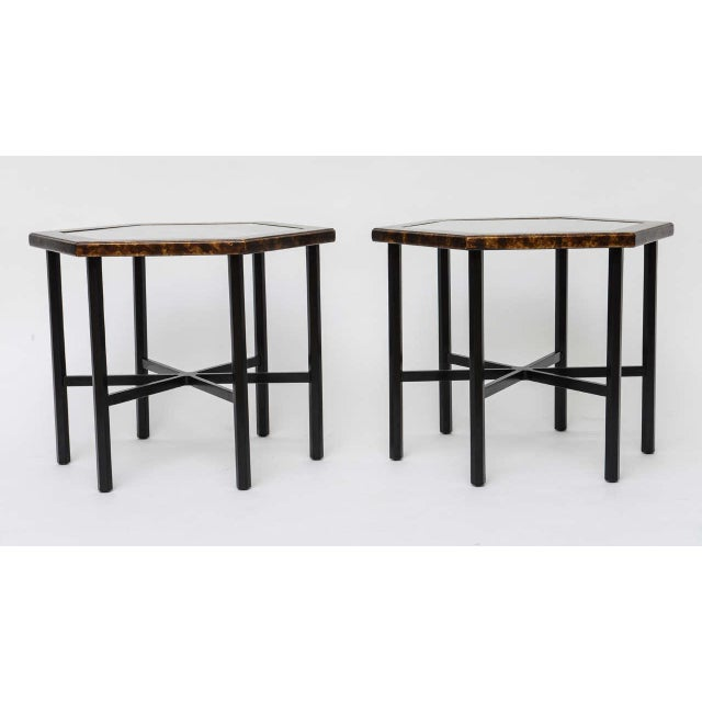 Asian 1960s Asian Widdicomb Pair Hexangonal Faux Tortoise Occasional Tables - a Pair For Sale - Image 3 of 11