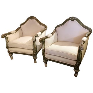 Pair of Supremely Dramatic Grand French Club Chairs For Sale