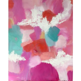 "Modern ""Pink Sky"" Original Geometric Abstract Painting For Sale"