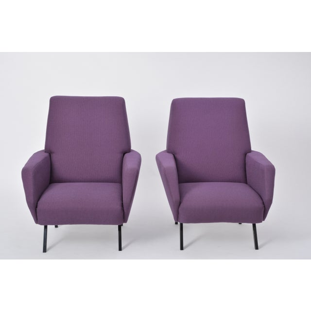 Mid 20th Century Pair of Reupholstered Italian Vintage Armchairs in Metal and Purple Fabric,1950s For Sale - Image 5 of 9