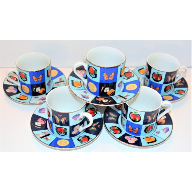 Vintage Mid Century Gucci Guccissimo Porcelain Espresso Cup Saucer Set- 12 Pieces For Sale In Houston - Image 6 of 13