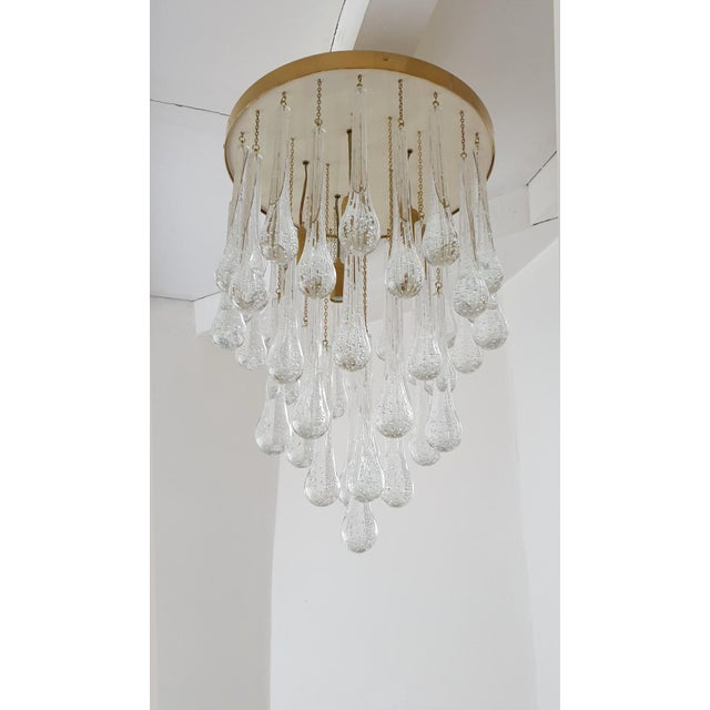 D'Lightus Flush mount light made of brass & ivory ceiling plate & cascading Murano clear glass drops with Bullicante...