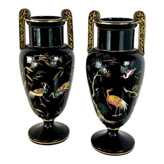 French Aesthetic Movement Enameled Bird Motif Black & Gold Vases - a Pair For Sale