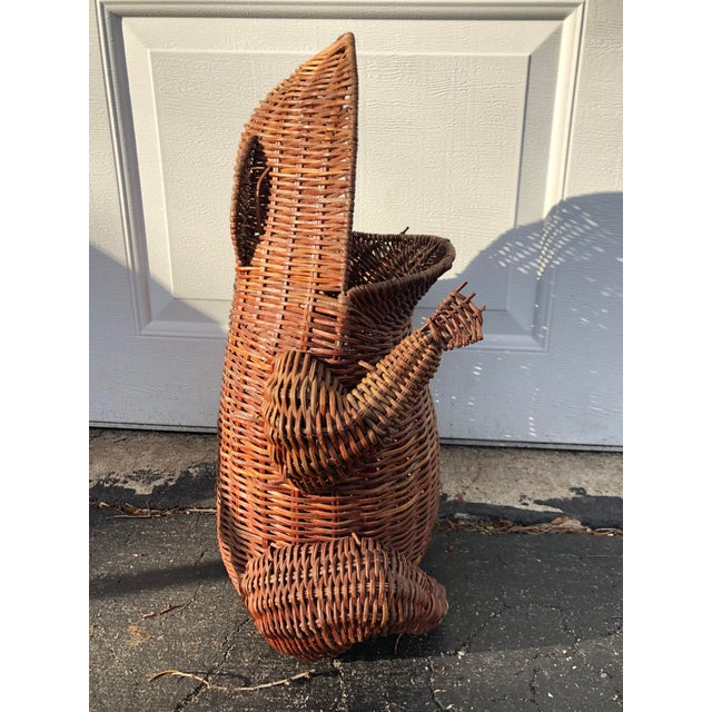 1970s Boho Chic Wicker Wide Mouth Frog Basket For Sale - Image 4 of 10