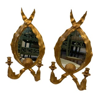 Pair of Carvers Guild Mirrored Gilt Sconces For Sale