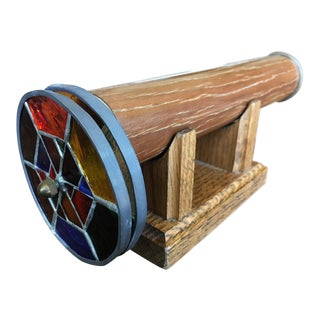 1980s Contemporary Wheelscope Kaleidoscope With Matching Wooden Stand