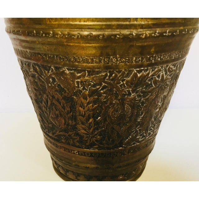 Metal Anglo-Raj Mughal Bronzed Copper Vessel Bucket For Sale - Image 7 of 12