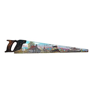 Paint-Painted Hand Saw Country Decor For Sale