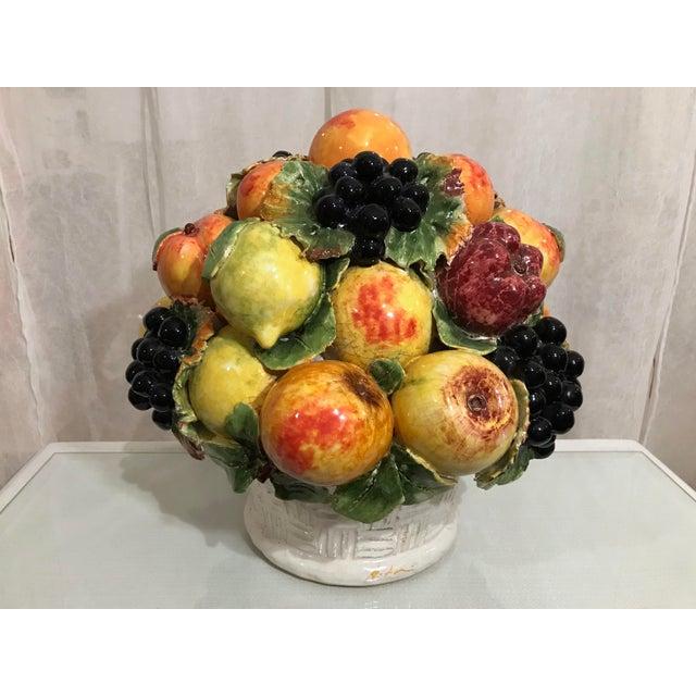 Ceramic Mid-Century Large Italian Majolica Ceramic Fruit Centerpiece For Sale - Image 7 of 7