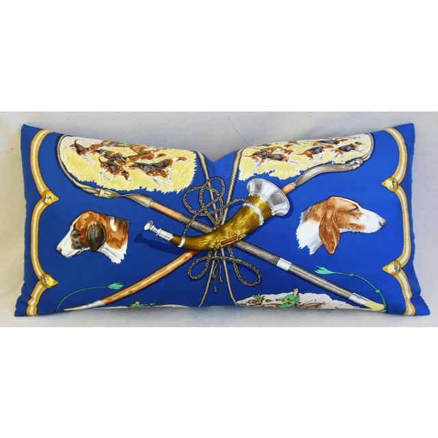 """Hermes Le Laissed Courre Hunt & Hounds Silk Feather/Down Pillow 34"""" x 17"""" For Sale - Image 12 of 12"""