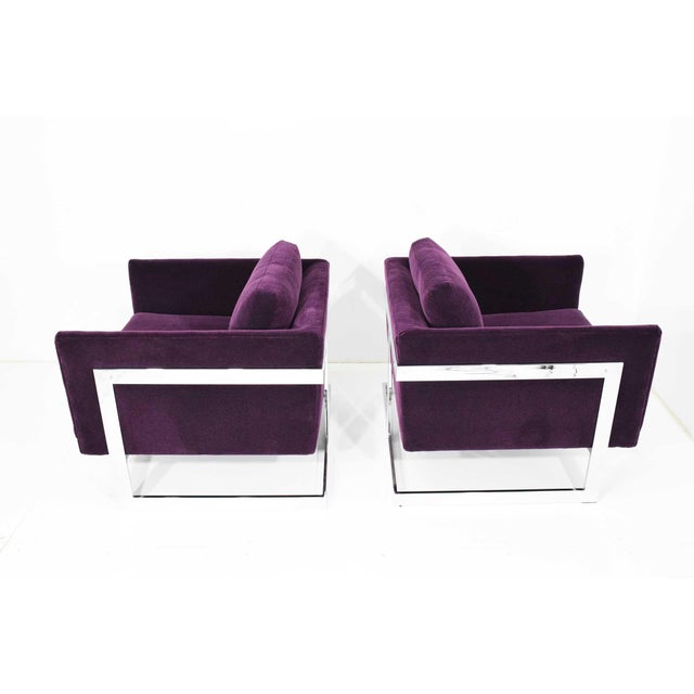 Milo Baughman T-Back Cube Chairs in Maharam Mohair - a Pair For Sale - Image 10 of 13