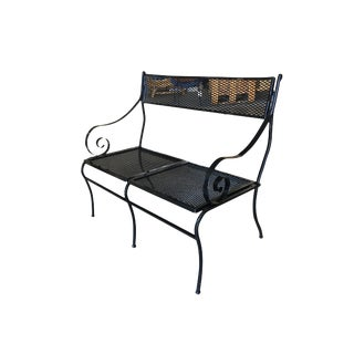 Woodard Wrought Iron Mesh Loveseat Bench, Scrolling Arms For Sale