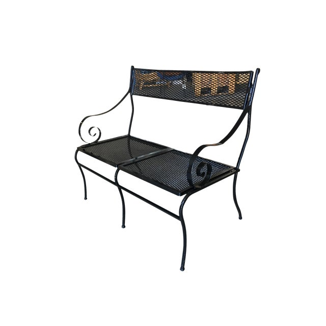 Tremendous Woodard Wrought Iron Mesh Loveseat Bench Scrolling Arms Andrewgaddart Wooden Chair Designs For Living Room Andrewgaddartcom