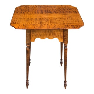 Late 20th Century Tiger Maple Table For Sale