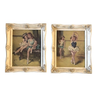 Gallery Wall Collection 1950's Child Ballerinas in French Frames - a Pair For Sale