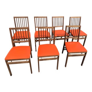Vintage Mid Century Stakmore Folding Chairs- Set of 7 For Sale