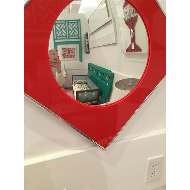 Carvers Guild Convex Mirror of Red Lucite and Chrome - Image 5 of 8