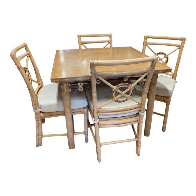 """McGuire """"Target"""" Rattan Dining Set - 5 Pieces For Sale"""