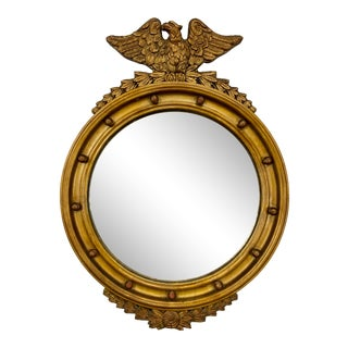 Antique Federal Gold Giltwood Convex Mirror With Eagle For Sale