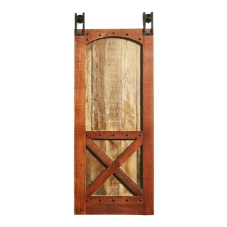 X Style Reclaimed Wood Barn Door For Sale