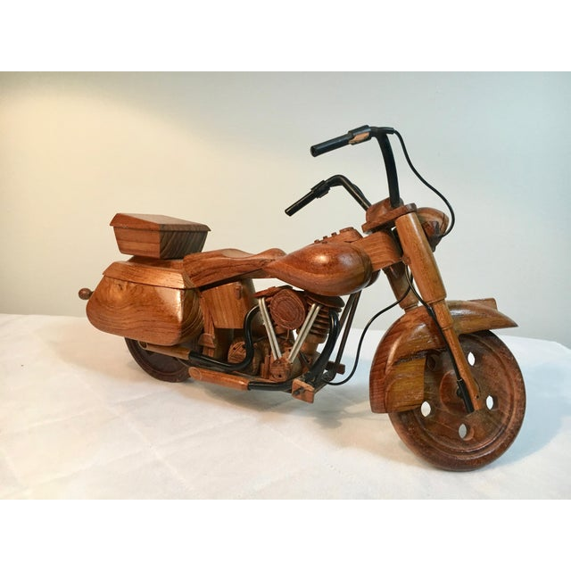 Mid-Century Modern Mid-Century Modern Wooden Model Motorcycle Replica For Sale - Image 3 of 9