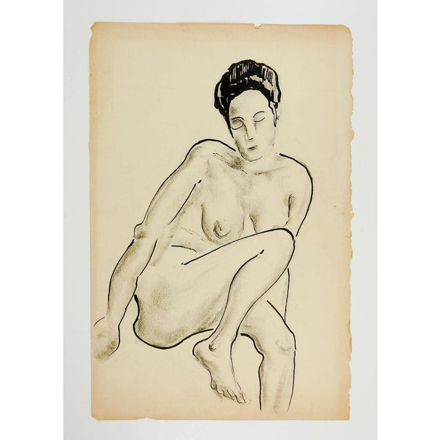 Ink and charcoal study of nude female, circa 1960's. Unsigned. Unframed, age toning, edge wear.