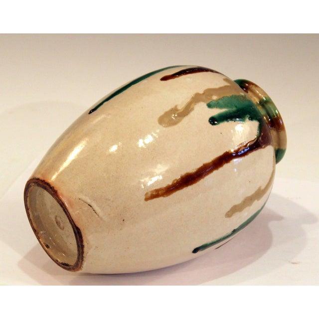 1930s Awaji Pottery Art Deco Vase in Tricolor Drip Glaze For Sale - Image 5 of 9
