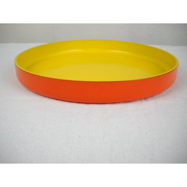 Op Art Op Art Yellow Orange Serving Tray For Sale - Image 3 of 9