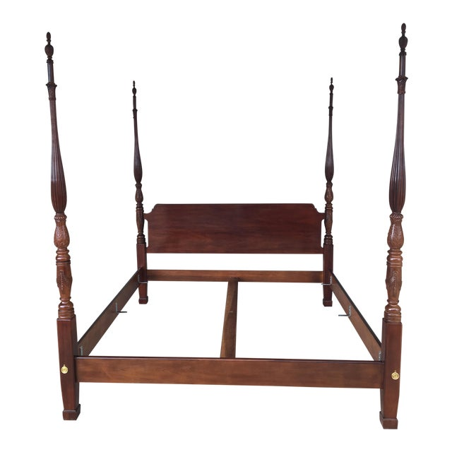 Henredon Mahogany King Size Chippendale Style Rice Tobacco Poster Bed For Sale