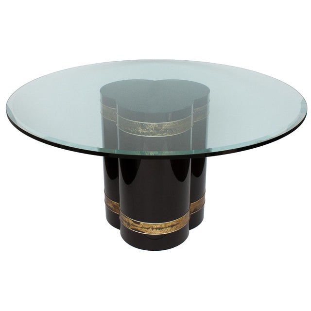 Bernhard Rohne Black Lacquer Brass Pedestal Dining Table - Image 2 of 9