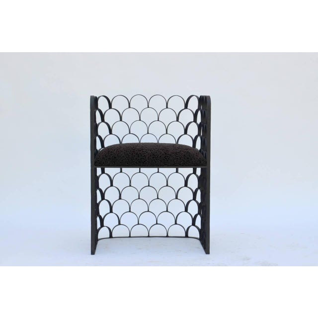 Sculptural Wrought Iron and Astrakhan Wool 'Arcature' Stool by Design Frères For Sale - Image 9 of 9