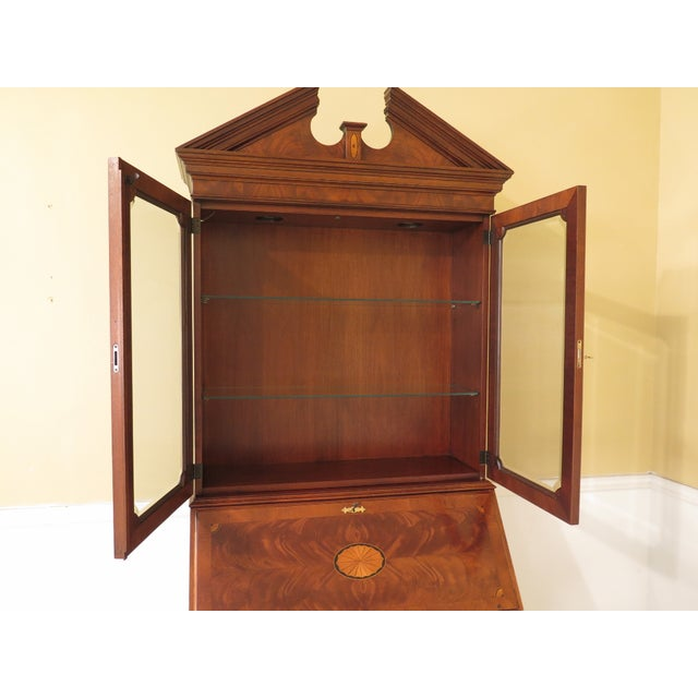 Mahogany 1990s Vintage Hekman Inlaid Mahogany & Yew Wood Secretary Desk For Sale - Image 7 of 13
